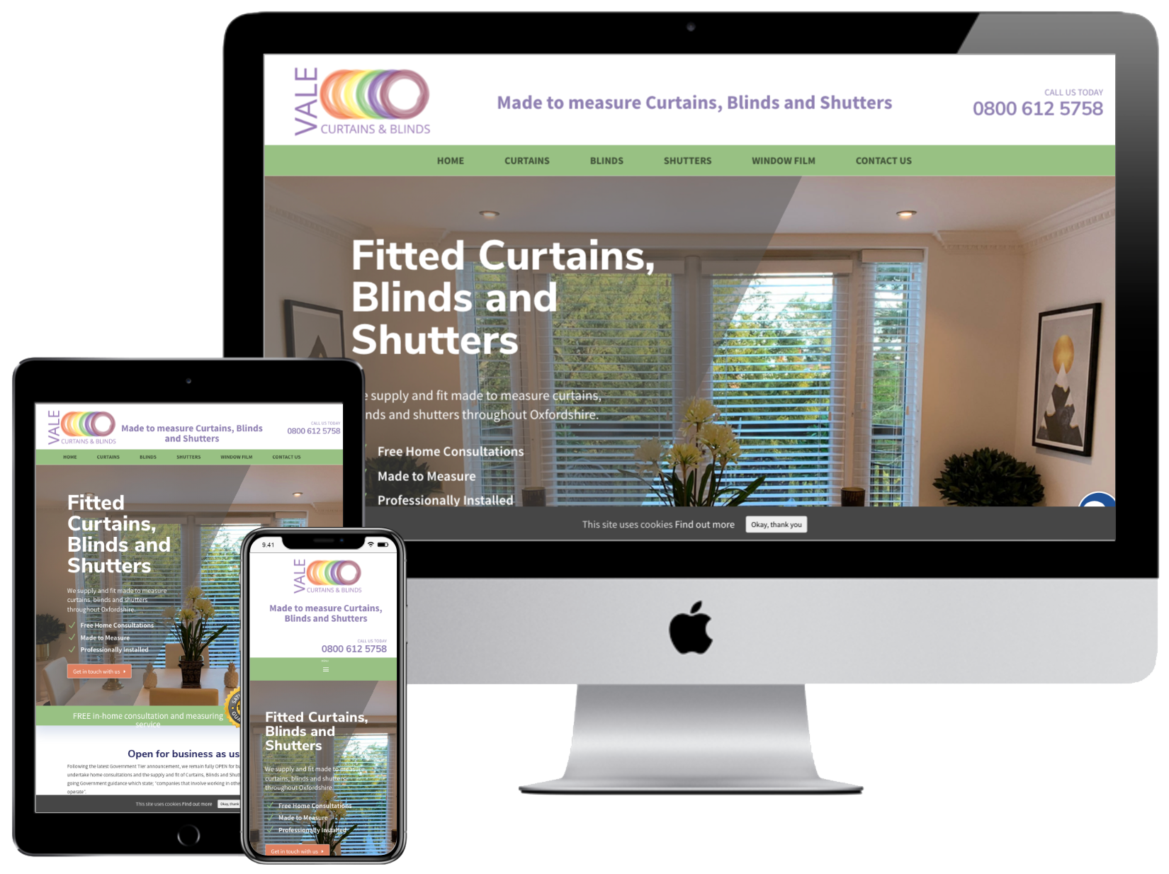 Vale Curtains and Blinds website by Web SEO Assist