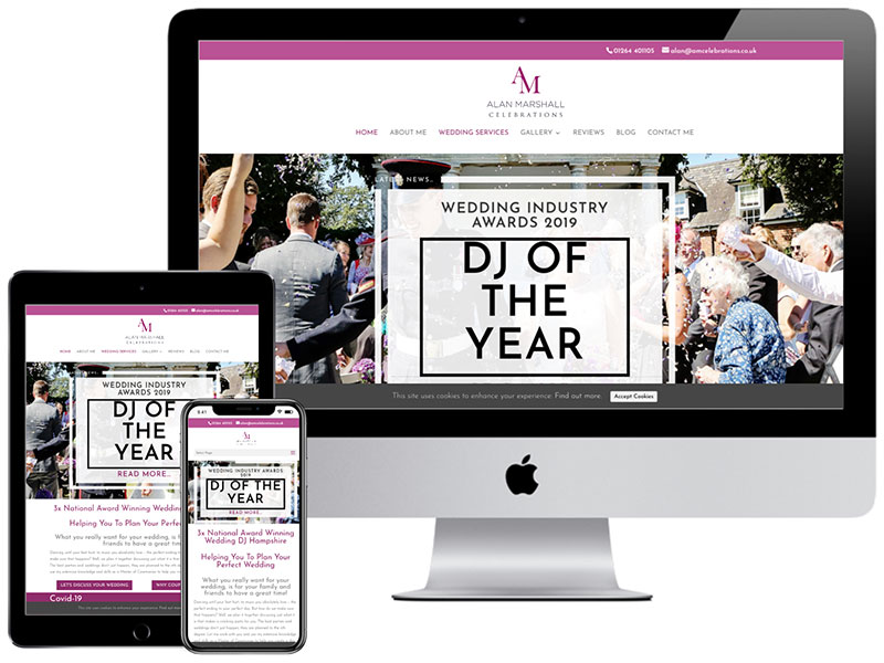 Web Design Portfolio - AM Celebrations Wedding DJ