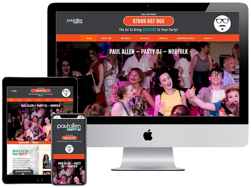Web Design Portfolio - Norfolk DJ Paul Allen